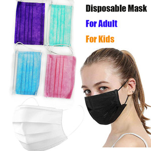 Disposable Face Masks with Elastic Ear Loop Adult kids mask 3 Ply Breathable Dust Air Anti-Pollution Mask black white blue