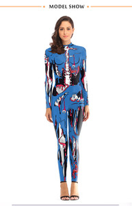 Halloween Stage Wear Designer Terrorist Pattern Stand Collar Jumpsuits Fashion Natural Color Long Sleeve Long Jumpsuits