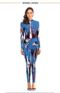 Halloween Bühnen Wear Designer Terrorist Muster Stehkragen Jumpsuits Mode Natural Color Langarm Lange Jumpsuits