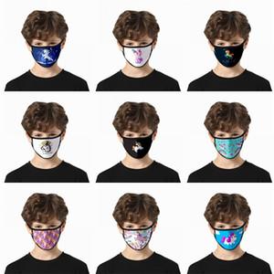 인쇄 유니콘 Mascherine 스카이 말 빨 먼지 얼굴 마스크 패션 재사용 천 호흡 사용자 정의 남자 여자 어린이 재고 있음이 2gla C2