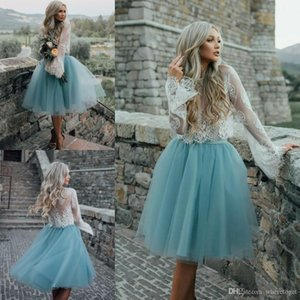 2020 Summer Beach Bohemian Bridesmaid Dresses Long Sleeve Lace Blue Tulle Custom Made Maid Of Honor Wedding Party Guest Gowns