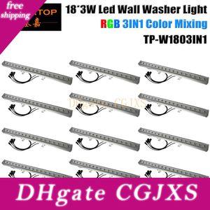 Tiptop 12pcs / Lot 60w rgb Bar Projecteur étanche Ip65 extérieur Wall Washer Linear Stage Light 18pcs 3w Spotlight Flood Dj club