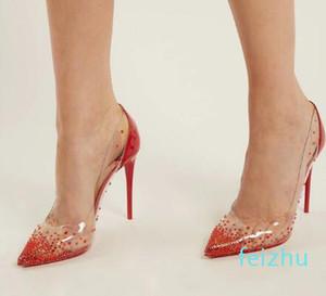 Heißer Verkauf-Fashion Plexiglas Klar PVC mit Kristall-Absatz-Frauen-Schuhe-spitze Pumps Roten Lackleder-Partei-Hochzeit Schuhen