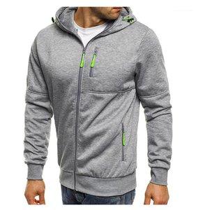 Collier Pull Fashion Sweat Hommes Designer Zipper Hoddies Couleur unie manches longues Homme Vêtements pour hommes à capuchon