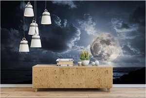 Custom Photo Wallpapers murals for walls 3d mural Hd seaside moon hd white clouds sky background wall papers decorative painting