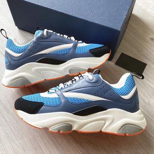 Лучшие мужские кроссовки B22 голубые технические трикотажные и телячьей кожи толщиной белые резиновые пятки платформы обувь кожа тренеров женщин кроссовки с коробкой