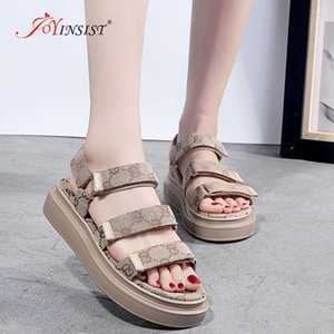 Femmes Sandales Glissement bande élastique Peep Toe Chaussures Femme Sandales plates été Plate-forme dames Crochet chaussures confortables et une boucle MX200620