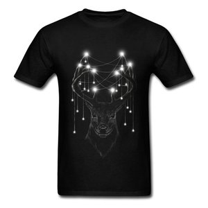 Light Source T Shirt Men Deer Print Tshirt Youth T-Shirt Mistery Animals Design Tops Tees Black Clothes Cotton Fabric Simple