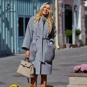 FURSARCAR 2020 Nouveau Automne Hiver Femmes Luxe Cachemire Manteau Nature col de fourrure de poche en laine mélangée réel Veste en cuir