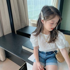 20 Korean style summer dress girl hollow white Top white shirt baby Western style base bubble short sleeve thin top cotton shirt