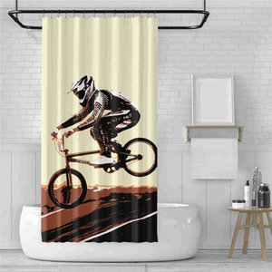 Racing Car Motorcycle Shower Curtain 3D Print Extreme Sport Shower Curtain Washable Bathroom Curtain