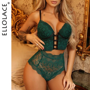 Ellolace Lingerie Set Sexy Women Underwear Bra with Bandage Panties Female Bra Party Set Sexy See Through Lace Bra set Lingeries Y200708