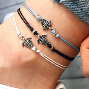 Fashion Summer Foot Bracelet Beach Anklets Ancient Ankle Bracelets Silver Turtle Wax Rope Barefoot Sandals Beach Feet Jewelry Accessories