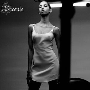 VC Toutes Livraison gratuite 2020 New Dress Trendy Mini blanc boucle design sexy côté évider Celebrtiy Party Dress Bandage Slip