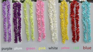 "80""(200cm) Super Long Artificial Silk Flower Hydrangea Wisteria Garland For Garden Home Wedding Decoration Supplies 6 Colors Available"