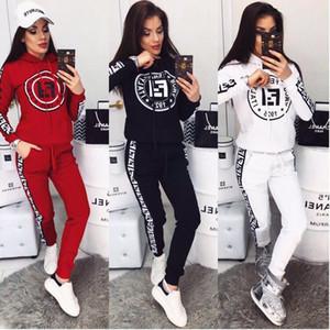 Femmes Survêtements 2piece ensemble Pull capuche chemise sport à manches longues et un pantalon de jogging fixés femmes costume impression lettre sport conviennent Streetwear