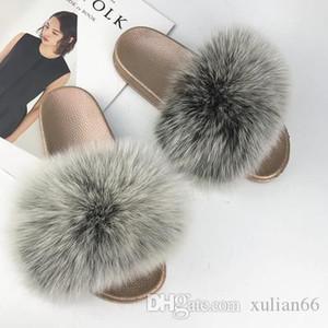 Givenchy Versace Gucci Ysl Fendi Shaggy zapatillas Nueva piel de zorro de las mujeres de lujo zapatillas suaves real del pelo del tirón diseñador señoras de los fracasos linda sand
