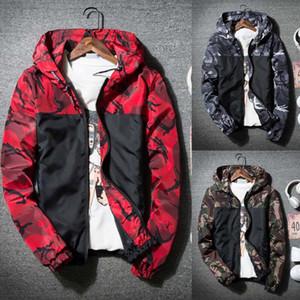Hoodies d'hiver d'homme Jckets Soft Shell imprimé camouflage imperméable coupe-vent extérieur Mode Zipper automne Vestes Manteau W726