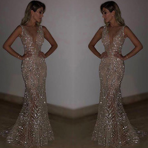 2020 Luxury Sexy V-neck Backless A-line Women Prom Gown Bling Sequins Appliqued Evening Dress Ankle-length Party Dress Cheap