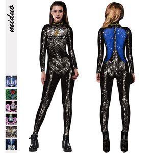 Les modèles européens et américains populaires 2020 Automne et Hiver New Halloween Crâne d'impression numérique Jumpsuit manches longues Tight Pants W Cropped