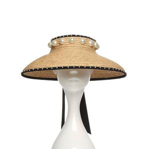 Mode-Design Rafi Gras Stroh geflochtene Kappen Frühling Sommer große Krempen Bogen Band Perle justierbare Hut für Frau Damen ohne Spitze