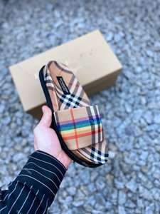 xshfbcl luxe progettista explosion rainbow pattern slippers classic outsole elastic sheepskin slippers fashion comfortable ladies slippers