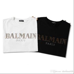 2020 бренд женщин кнопки Конструкторы футболка Алмазного письма золота с коротким рукавом футболки мужчин и женщин хлопка Summer Tee 788