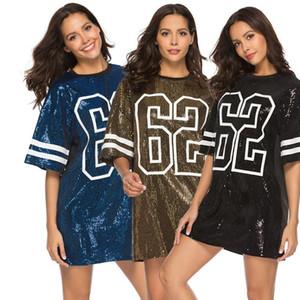 Fashion women's T-shirt designer mid-length digital print loose T-shirt summer new sequin dress Size S-2XL--1