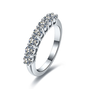 18K White Gold Plated Jewelry for Women Sterling Silver Anniversary Ring 7 Stones 0.7CT NSCD Diamond Ring Female Luxury Jewelry PT950 Stamp