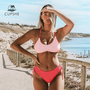 CUPSHE Red White Stripe Strappy Bikini Sets Sexy Reversible Bottom Swimsuit Two Pieces Swimwear Women 2020 Beach Bathing Suits T200708