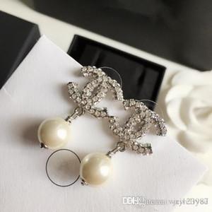 New Hot Sale luxo cheio de diamantes pérolas brincos Moda letra forma de prata brincos selvagens jóias