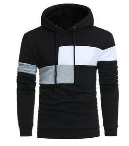 couleur de contraste pour les hommes minces Printemps Automne à capuchon de couverture de grande taille couture manteau veste Sweater survêtement Tops Vestes