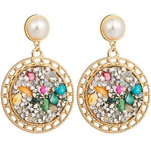 Yeni Moda Takı Pearl ve Renk Stone ile Kadın kakma için Alaşım Yuvarlak Hollow Out Küpe