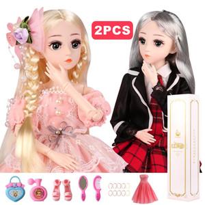 BJD Doll 1/4 DIY Bebekler Kız doğum günü için Giyim Kıyafet Ayakkabı Peruk Saç Makyaj Best Hediyelik ile 18 Ball Jointed Bebekler (AL 1 GET 1 FREE)