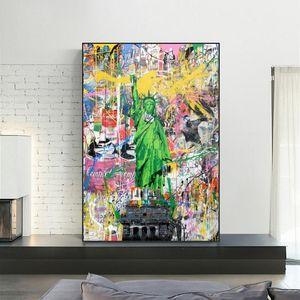 Statue of Liberty Street Wall Art Canvas Poster und Drucke Graffiti-Pop-Kunst-Leinwand-Gemälde für Heim Dekorative Bilder