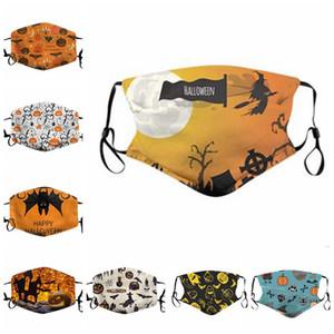 Máscaras Máscaras Halloween Pumpkin impresso voltado Crânio de protecção Máscaras ajustável Orelha de malha reutilizável Anti Poeira Poluição cobrir a boca LSK579