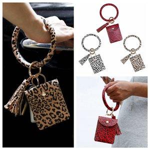 Handbag Bracelet Card Party Credit Tassel Wristlet Keyring Wallet Bag Leopard Bracelet Card Holder With Bangle Keychain Favor RRA3368 Iaful