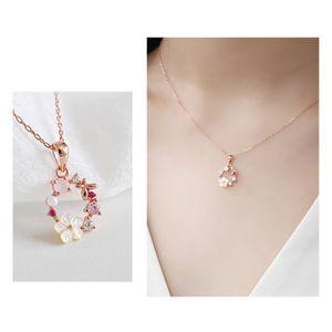 Colgante, collar de perlas circón Garland Shell Crystal Flores creativo de la manera collar de la mariposa para las mujeres joyería y accesorios