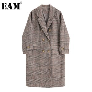 [EAM] Loose Fit Plaid Brief Pocket Big Size Woolen Coat Parkas New Long Sleeve Women Fashion Tide Autumn Winter 2020 1X746