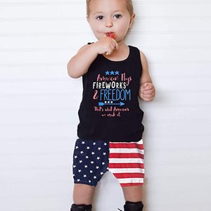 Baby Boys Summer Outfits Sleeveless T-Shirt Top With American Flag Short Pants Independence Day Sets 4th Of July Baby's Sets
