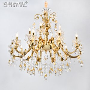 New Arrival Large Foyer Modern Chandeliers Light Candle K9 Crystal Golden Pendant Lamp Fixture Suspension Hanging Lamp 15 Arms For Living