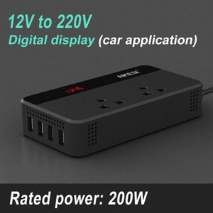 200W For Car Power Inverter DC 12V to AC 220V Auto Voltage Converter Digital Display with 4 USB Charging Ports 220 Power Sockets sdyO#