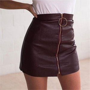 Summer Dresses Women PU Leather Skirts with Zipper Fashion Sexy Short Skirts Body Hip Slim Fit Womens