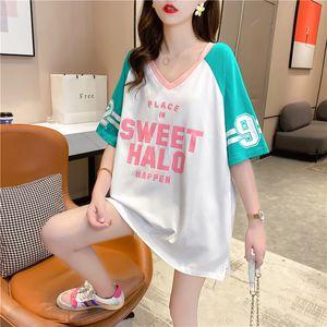 QNPQYX корейского стиль с коротким рукавом женщин футболка студент Сыпучего-Fit INS Мода Универсального Западного стиль Печатные Joint Мода Топы дропшиппинга