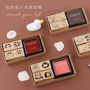 TUNACOCO Stamp Jogo bonito do selo Sighnet Com Inkpad animal Selo de madeira Jornal DIY Artesanato Qt1710133 sNl5 #