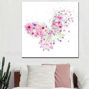 Граффити Pop Art Pink Butterfly Flower Girl Холст Картина масло Современного Мультфильм Плакат Принты Стен Искусство фотография Девушка Спальня Домашнего украшение
