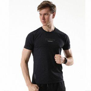 Erkek Egzersiz Tshirt Vücut Gym Jersey Erkek Koşu Tişörtler Hızlı Kuru Sıkıştırma Sport Tişörtler Futbol Eğitim Tişörtlü 0jjU #
