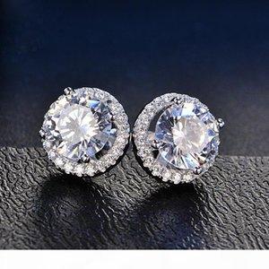 F Diamond Ring Romantic Jewelry Original Pure 925 Silver Stud Earrings For Women Wedding Elegant Cubic Zirconia Stone Earring E013