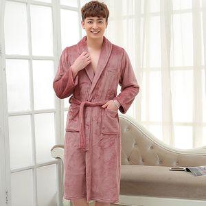 On Sale Men Soft as Silk Flannel Long Bath Robe Male Kimono Bathrobe Lovers Dressing Gown Winter Warm Robes Classic Nightgowns