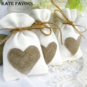 10x14cm White Linen Drawstring Bag Vintage Natural Burlap Gift Candy Bags Wedding Party Favor Pouch Jute Gift Jewelry Bags T200229